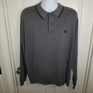 Chaps Men's Grey LS Sweater Polo Size XXL EUC